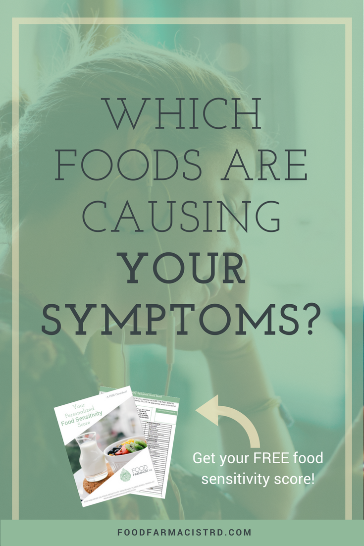 What foods should you eat for IBS, migraines, fibromyalgia, or other health conditions? Many of these health issues can be worsened by food sensitivities. Food Farmacist RD breaks it all down in this post, including a FREE cheat sheet to determining YOUR food sensitivity score.