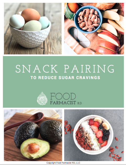The BIGGEST missing step to reducing your sugar cravings is snack pairing. Food Farmacist RD breaks down how to include snack pairing to stop your sugar cravings. BONUS: FREE guide with over 30 snack pairing combinations included! |Reduce Sugar Cravings| Sugar Detox|