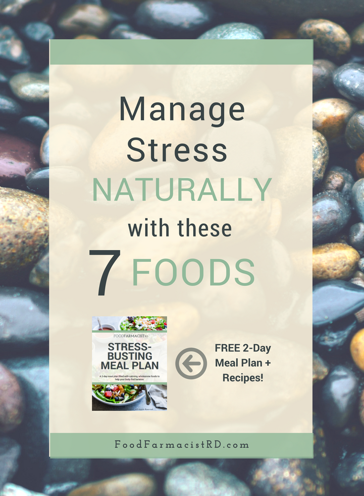 Food can help us manage our stress more effectively. Chronic stress can cause high cortisol levels, which can lead to unwanted symptoms like weight gain, insomnia, fatigue, and acne. Click to read which foods will help you de-stress! FREE 2-day stress-busting meal planner included.