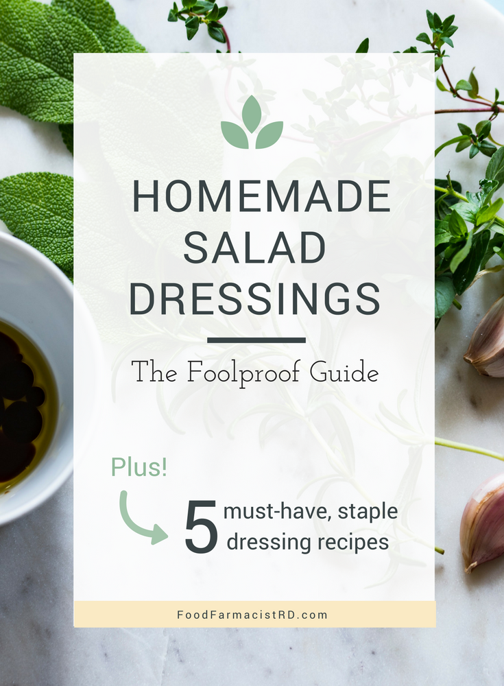Homemade salad dressings are free of preservatives and added sugars that aren't so healthy for us. On the plus side, they are actually easy to make. This guide has an easy step-by-step blueprint for how to make delicious tasting salad dressings at home! | Healthy Salad Dressing | Easy Salad Dressing | Whole 30 salad dressing