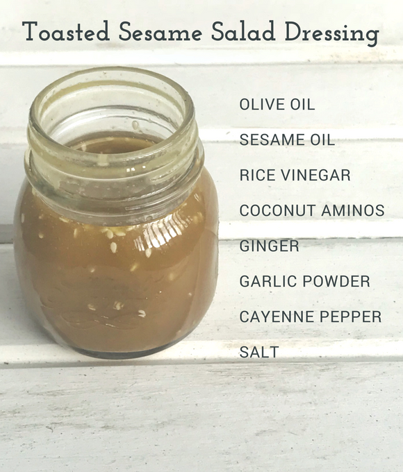 This Toasted Sesame Salad Dressing has a mild spicy undertone, and is the perfect homemade salad dressing to pair with any Asian salad! Gluten Free Salad Dressing| Whole 30 Salad Dressing| Paleo Salad Dressing