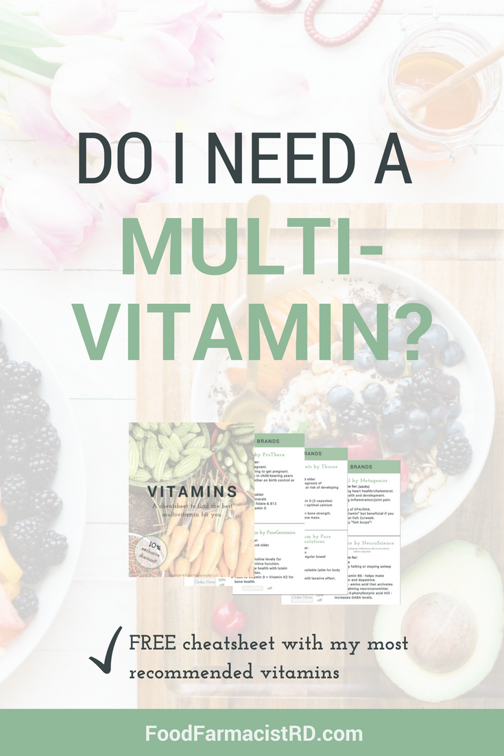 Vitamins should come from food whenever possible. But, are there any conditions where we would need a multivitamin? Click to learn more and receive your free vitamin cheatsheet. |Food Farmacist RD|