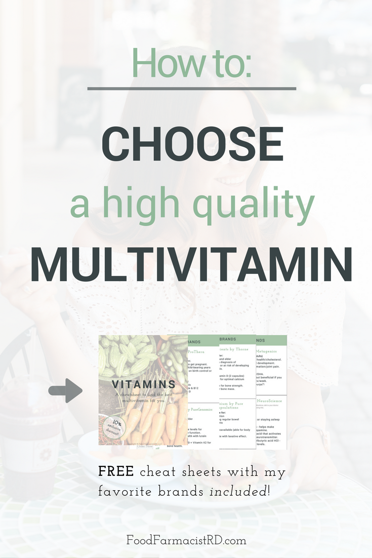 We should be getting our nutrients from food whenever possible, but certain conditions may require extra supplementation. Learn how to choose a quality multivitamin here! Plus, grab your free cheatsheet of my most recommended vitamins!