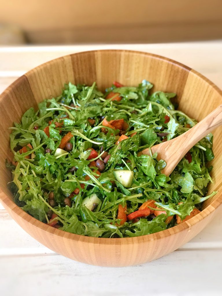 Delicious plant based meal - sweet potato arugula salad
