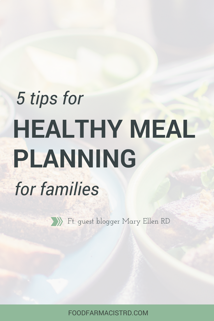 Planning healthy meals for families can seem daunting. Guest blogger Mary Ellen RD gives 5 top tips on how to achieve meal planning success!