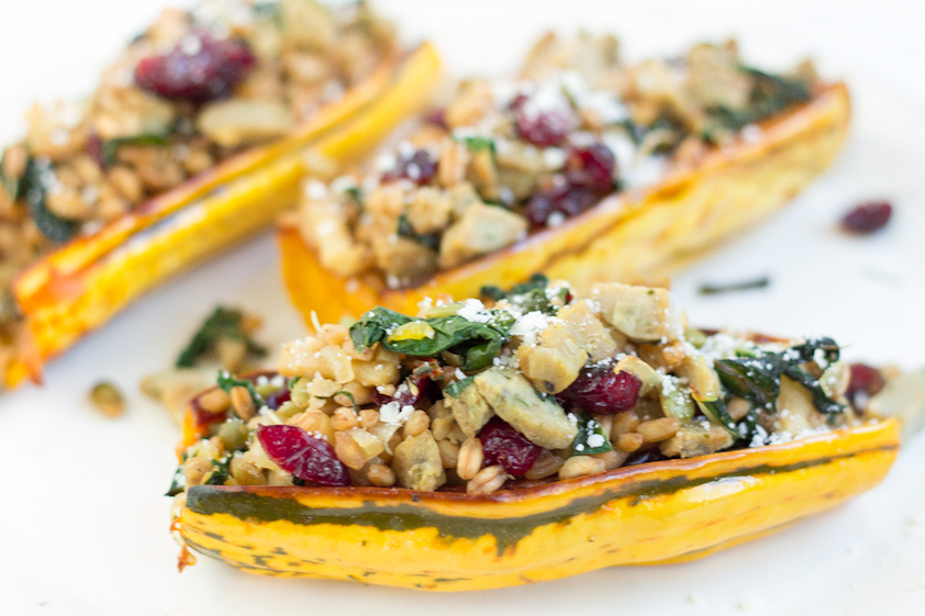 Stuffed delicata squash recipe with chicken