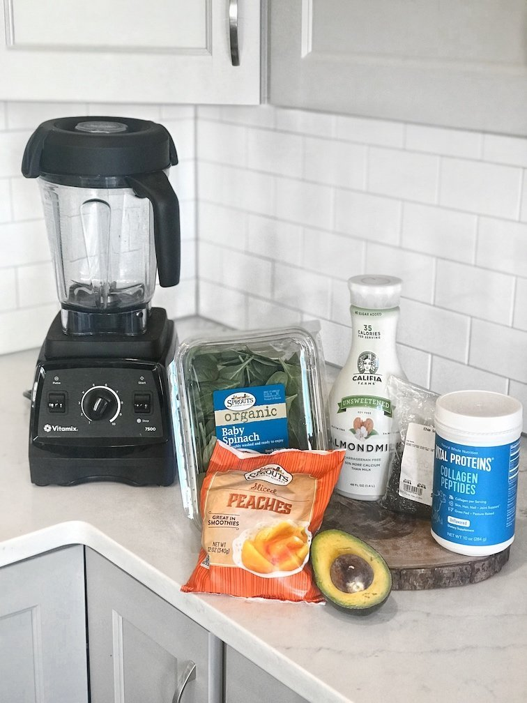 Prep for peach spinach low carb smoothie
