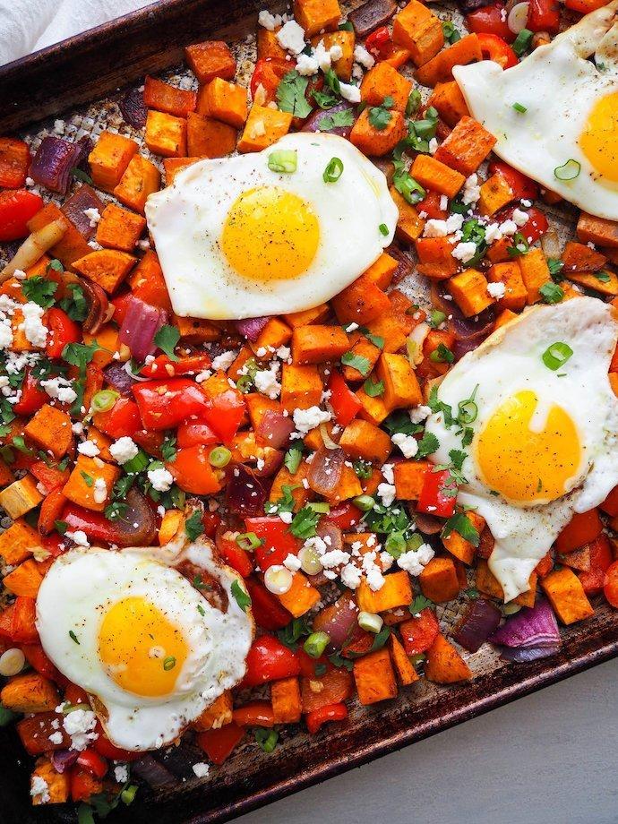Southwest sweet potato breakfast hash, sweet potato and eggs