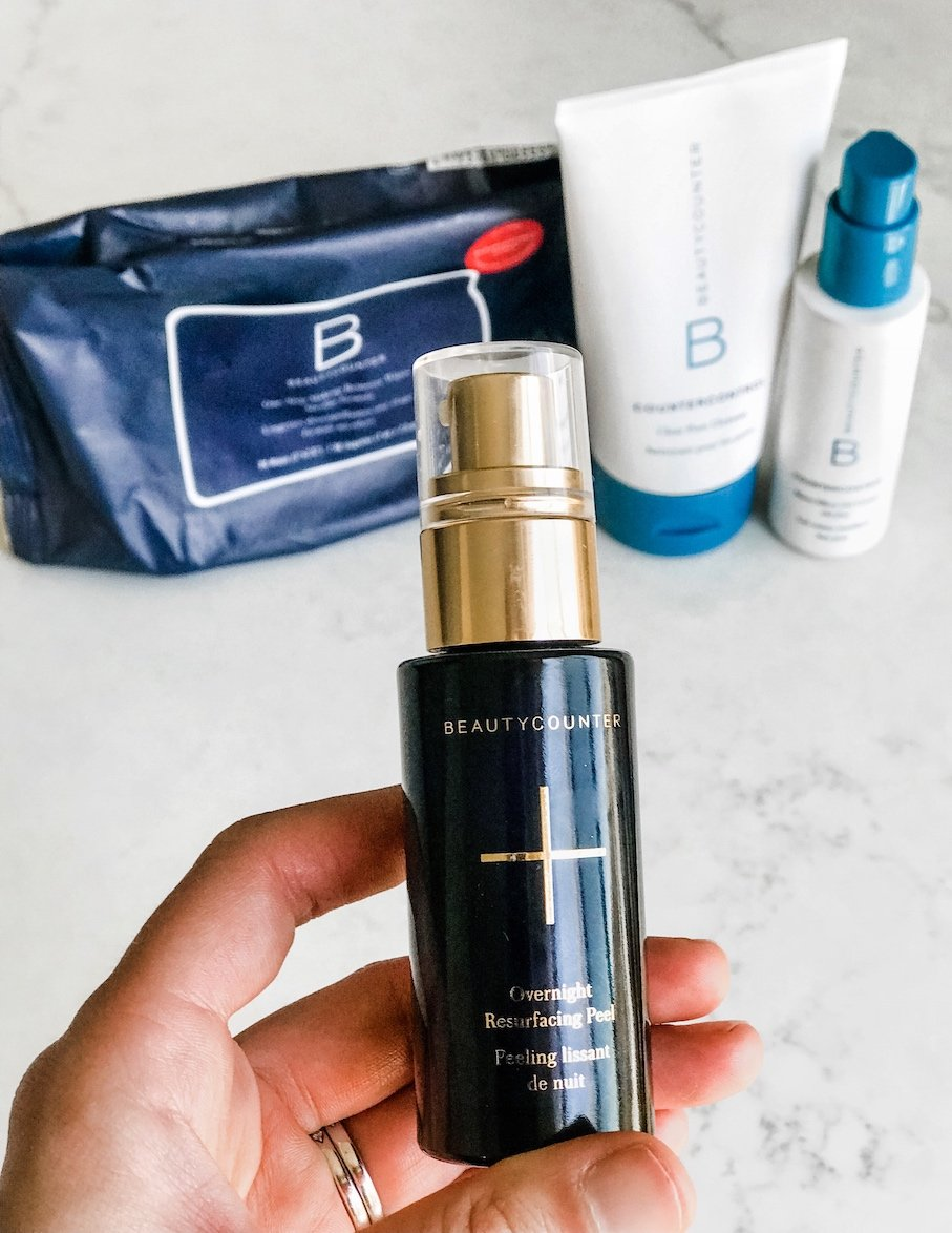 Picture of salicylic acid peel with other beautycounter products in background