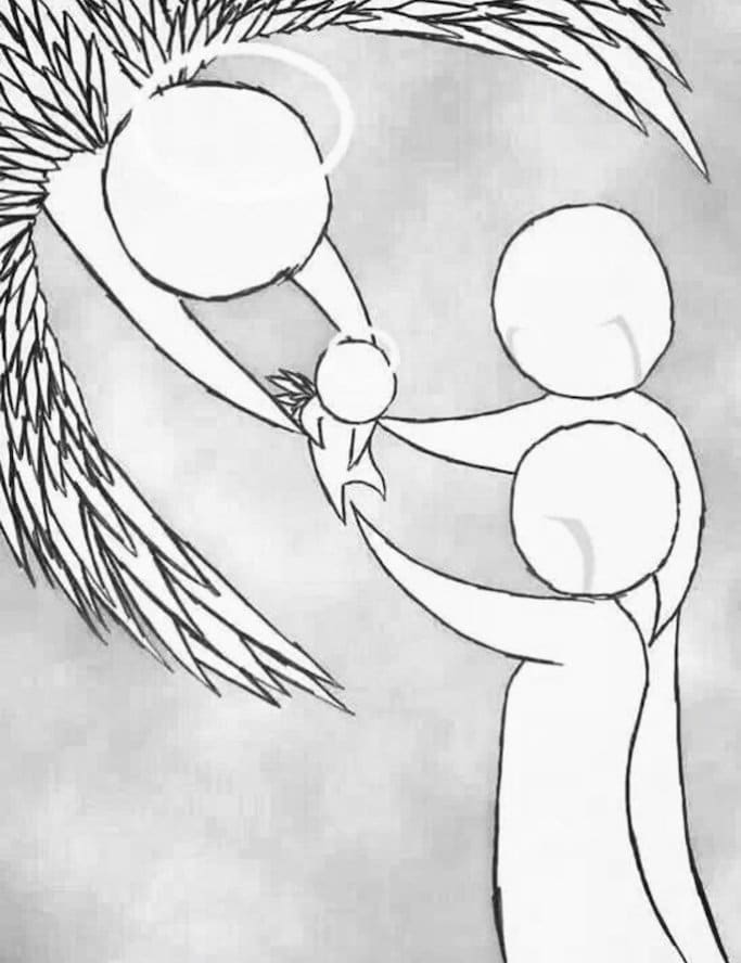 cartoon of angel taking baby from parents